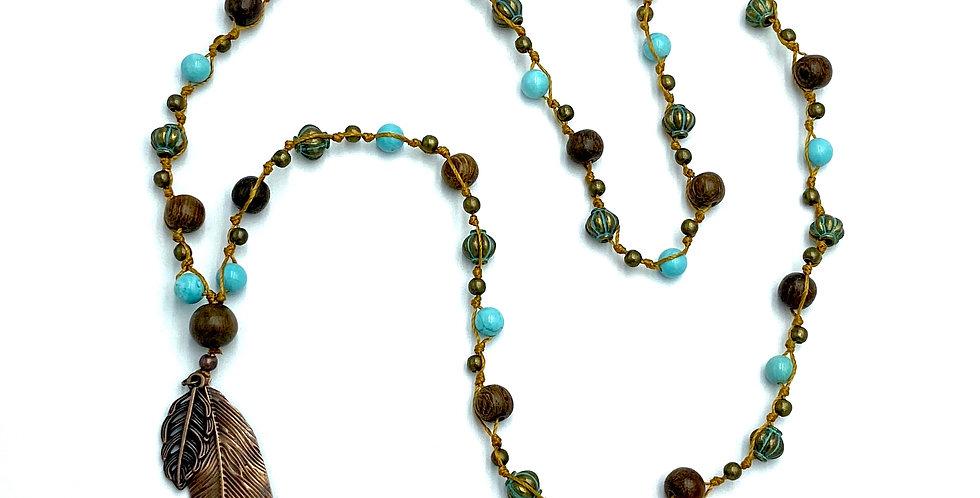 Nature Vibrations Turquoise & Wood Necklace