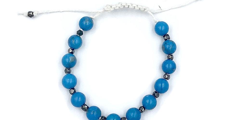 Blue Howlite Adjustable Macrame Bracelet