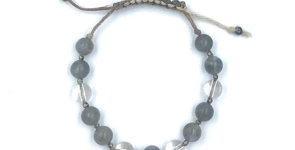 Labrodorite & Crystal Adjustable Macrame Bracelet
