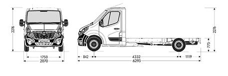 Opel Movano podvozek L3H1 rozměry 2 nase