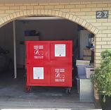 Skip bin can be wheeled into garage