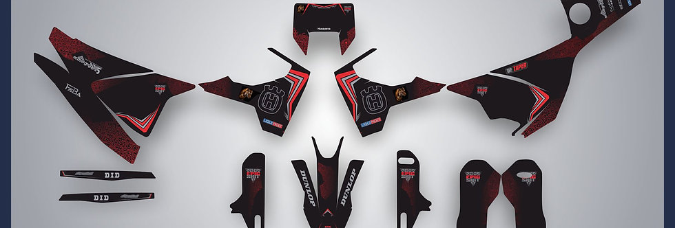 HUSQVARNA 701 BLACK RED CUSTOM DESING 2016-2022 GRAPHIC KIT