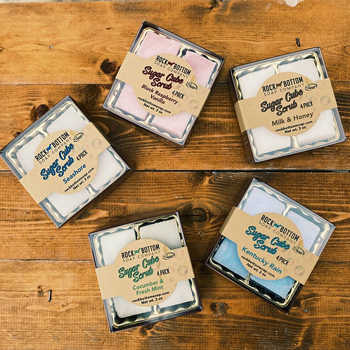 SUGAR CUBE SCRUB 4 PACK-GREAT FOR GIFT BASKETS
