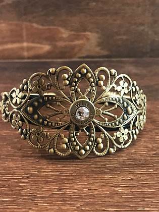 Antique Brass Cuff with 9mm Bullet