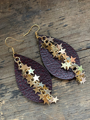 Mahogany Red Bomber Leather Earrings with Gold Star Chain