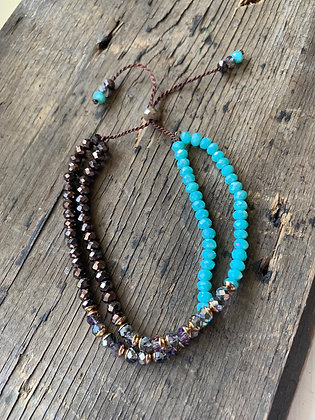 Turquoise and Brown Shamblla Bracelet