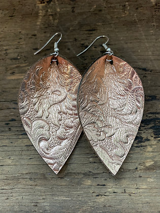 Rose Gold Floral Embossed Leather Earrings