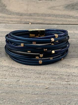 Navy Blue and Black Magnetic Bracelet