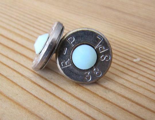 Bullet Earrings- 38 Special Mint Green Swarovski