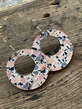 Pastel Marble Cork and Leather Hoop Earrings