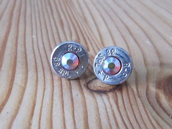 Bullet Earrings- 38 Caliber Clear Swarovski