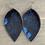 Thumbnail: Blue Acid Wash Hair on leather earring