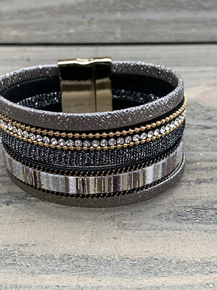 Grey and Taupe Rhinestone Magnetic Bracelet