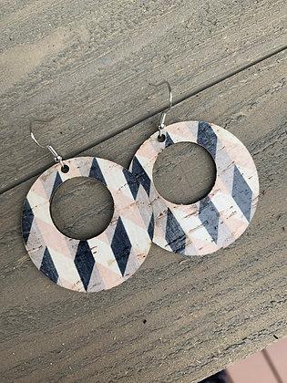 Black and Tan Chevron Cork Hoop Earring