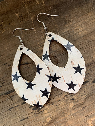 Black and White Star Cork Teardrop Earring