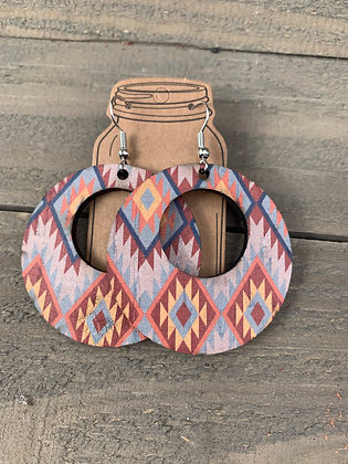 Blue and Orange Aztec Cork Leather Earring