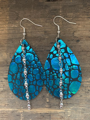 Teal Holographic Pebble Leather Earrings with Silver Chain