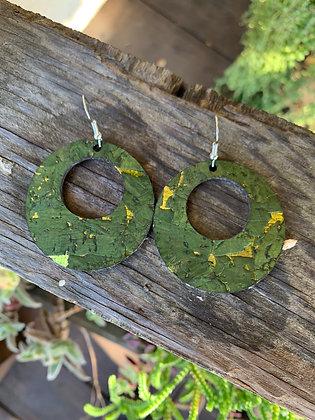 Fern Green and Gold Cork Hoop Earring