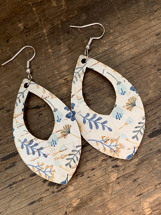 Blue and White and Mustard Floral Teardrop Earring