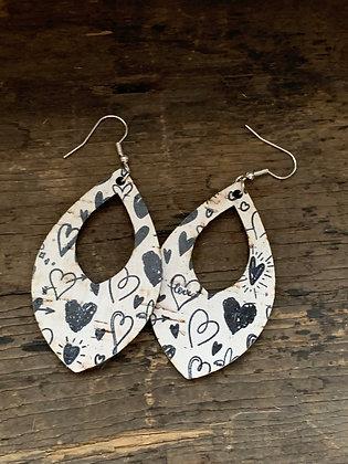 Black and White Heart Cork Teardrop Earring