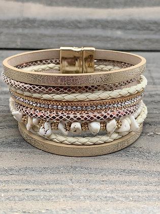 Tan Rose gold Gemstone Magnetic Bracelet