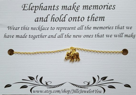 Elephant Memory Necklace- Gold