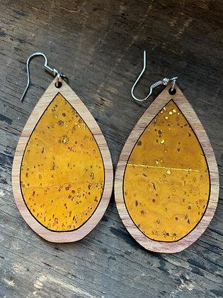 Mustard Yellow Cork Wood Teardrop Earrings