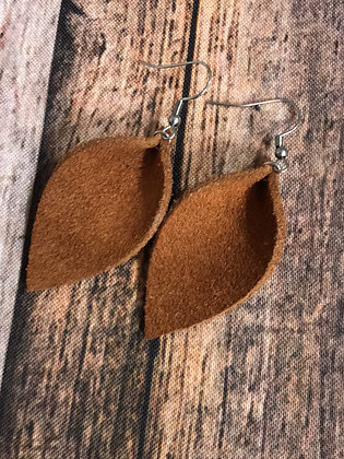 Tobacco suede leather earrings
