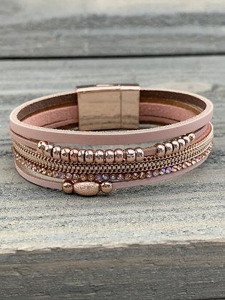 Rose Gold Iridescent Rhinestone Magnetic Bracelet