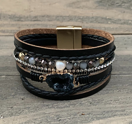 Black an Silver Druzy Beaded Magnetic Bracelet