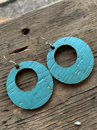 Teal Pearled Cork and Leather Hoop Earrings