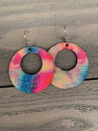 Glitter Tie Dye Cork Hoop Earring