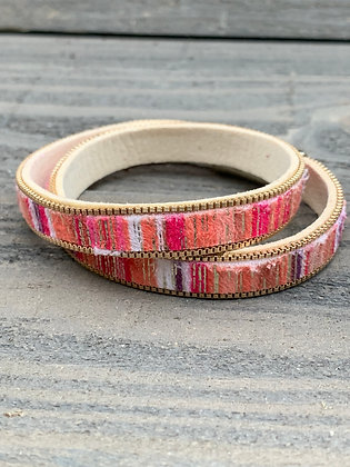 Orange and Pink Double Wrap Magnetic Bracelet