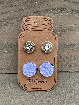 Lilac Purple 40 Caliber bullet earring set