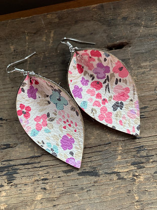 Pink, Purple and Blue Floral Leather Earrings