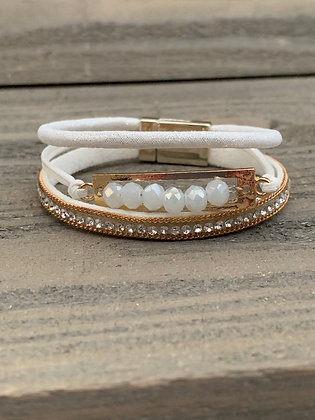 Gold and White Crystal Magnetic Bracelet