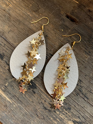 Tan Leather Earrings with Gold Star Chain