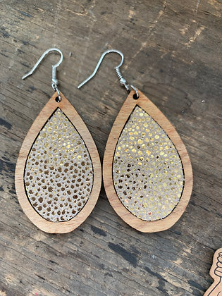 Gold Stingray Leather Wood Teardrop Earrings