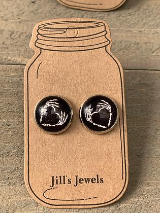 Skull Heart Halloween Stud Earrings