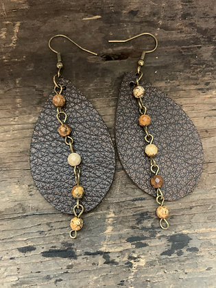 Brown Bomber Leather Earrings with Brown Gemstone Chain