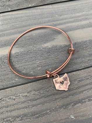 Rose Gold Ohio Heart Cutout Bangle Bracelet
