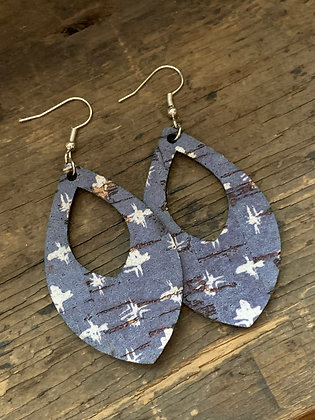 Denim Blue with White Star Cork Teardrop Earring
