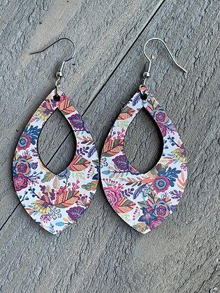 Fall Floral Cork Teardrop Earring