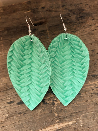 Spring Green Braided Leather Earrings