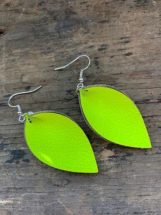 Neon Yellow Leather Earrings