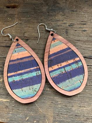 Blue Coral Sunset Cork Wood Teardrop Earrings