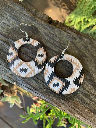 Black and Tan Aztec Hoop Earring