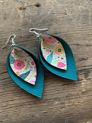 Teal Spring Floral Earrings