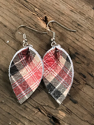 Tan, black and red plaid leather earrings