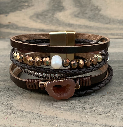 Brown and Bronze Druzy Beaded Magnetic Bracelet